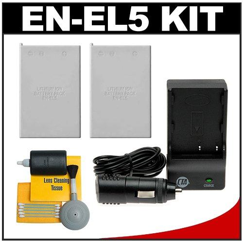 (2) CTA EN-EL5 Rechargeable Li-ion Batteries + Mini Battery Charger + Cleaning Kit for Nikon Coolpix S10, P6000, P5100, P5000, P500, P100, P90, P80, P4, P3, 3700, 4200, 5200, 5900 & 7900 Digital Cameras