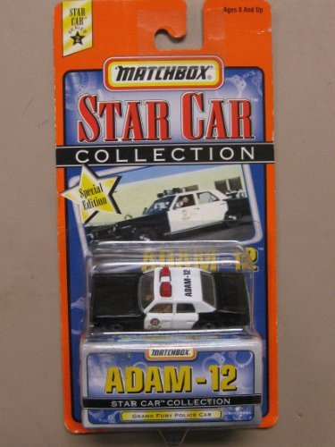 1999 Matchbox Star Car Collection Adam - 12 Grand Fury Police Car White/Black