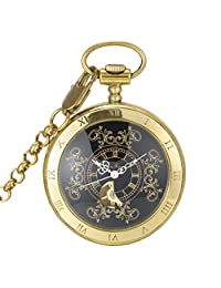 SwitchMe Men's Women's Copper Hand Wind Mechanical Pocket Watch Roman Numeral with Chain Black