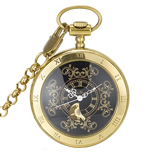 SwitchMe Men's Women's Copper Hand Wind Mechanical Pocket Watch Roman Numeral with Chain Black - Black Roman Numeral Pocket Watch