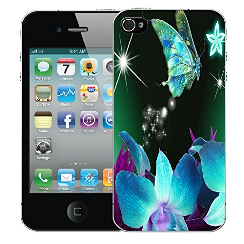 Mobile Case Mate iPhone 4s Silicone Coque couverture case cover Pare-chocs + STYLET - Blue Star Butterfly pattern (SILICON)