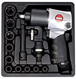SUNTECH SM-43-231HRGK3 Air Impact Wrench Kit with Handle Exhaust & Grip, Silver, 1/2''