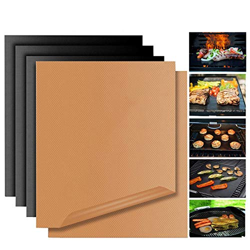 Copper Grill Mat Non Stick BBQ Bake Mat Magic Set 5 Reusable Baking Sheets Easy to Clean PTFE Teflon Fiber Grill Roast for Gas Charcoal Electric Grill Outdoor Indoor Dishwasher Safe Gold & Black