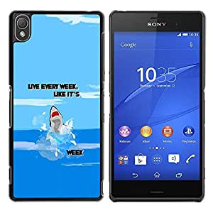 Paccase / SLIM PC / Aliminium Casa Carcasa Funda Case Cover para - Week Ocean Funny Cartoon Blue - Sony Xperia Z3 D6603 / D6633 / D6643 / D6653 / D6616