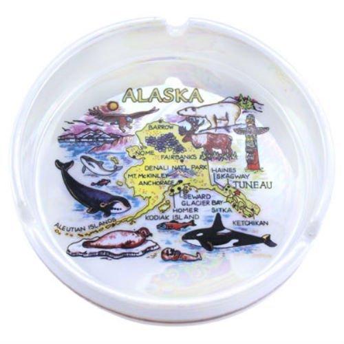 World By Shotglass Alaska State Porcelain Ashtray 5