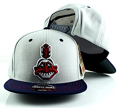 MLB American Needle The Big Show Baseball Wool Adjustable Snapback Hat (Cleveland Indians)