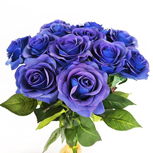 - IPOPU 10 Pcs Romantic Real Touch Artificial False Latex Silk Blooming Roses Bouquet Floral Leaf for Home Wedding Party Garden Bridal Hydrangea Decorations DIY (Blue)