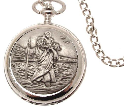 Pocket watch - Solid pewter fronted mechanical skeleton pocket watch - St Christopher design 36