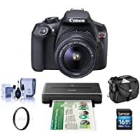 Canon EOS Rebel T6 DSLR with EF-S 18-55mm f/3.5-5.6 IS II Lens - Bundle With Canon PIXMA iP110 Wireless Mobile Inkjet Color Photo Printer And Camera Accessories