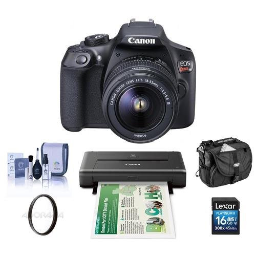 Canon EOS Rebel T6 DSLR with EF-S 18-55mm f/3.5-5.6 IS II Lens - Bundle With Canon PIXMA iP110 Wireless Mobile Inkjet Color Photo Printer And Camera Accessories by Canon