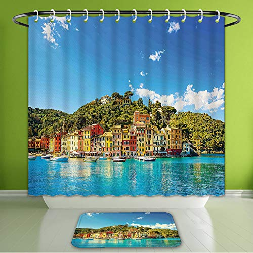 (Waterproof Shower Curtain and Bath Rug Set Village Decor Mediterranean European Town by The Sea Portofino Italian Harbor P Bath Curtain and Doormat Suit for Bathroom Extra Wide Size 78