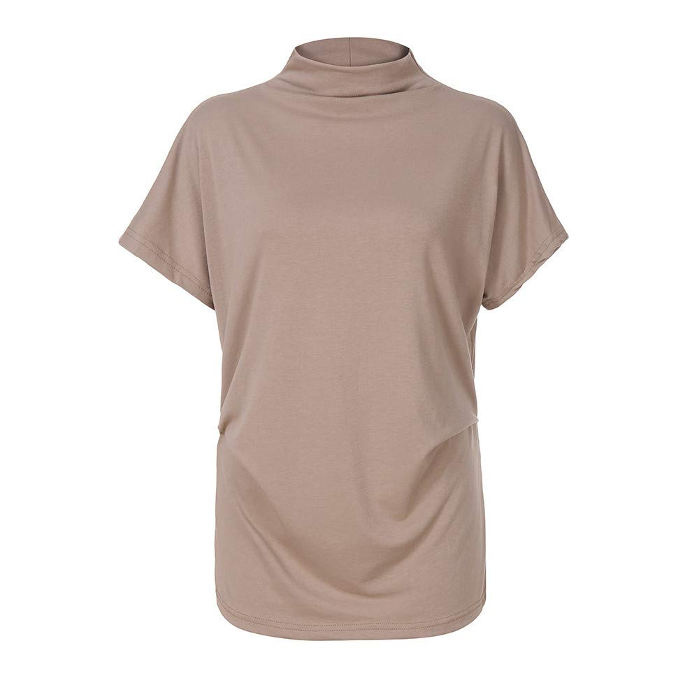 TWGONE Cap Sleeve Tops For Women Plus Size Turtleneck Solid Casual Blouse Top T Shirt (XXXXX-Large,Khaki) by TWGONE (Image #2)