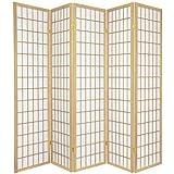 5 panel divider - 5 Panel Room Divider - Natural