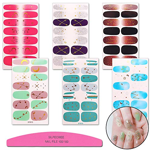 File Sticker Nail - SILPECWEE 6 Sheets Adhesive Nail Art Polish Stickers Tips And 1Pc Nail File Gold Foil Starry Sky Manicure Wraps Decals Strips Decoration
