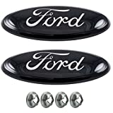 """Muzzys (SET OF TWO) 05-14 F150 ALL Black, Chrome FORD Front Grille AND Tailgate Emblem Set, Oval 9""""X3.5"""", 3 Mounting Tabs, Grill Badge Name Plate, Also Fits 05-07 F250 F350, 11-14 Edge, 11-16 Explorer"""