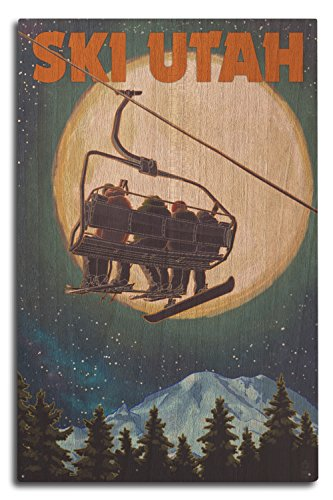 (Lantern Press Ski Utah - Ski Lift and Full Moon (10x15 Wood Wall Sign, Wall Decor Ready to Hang))