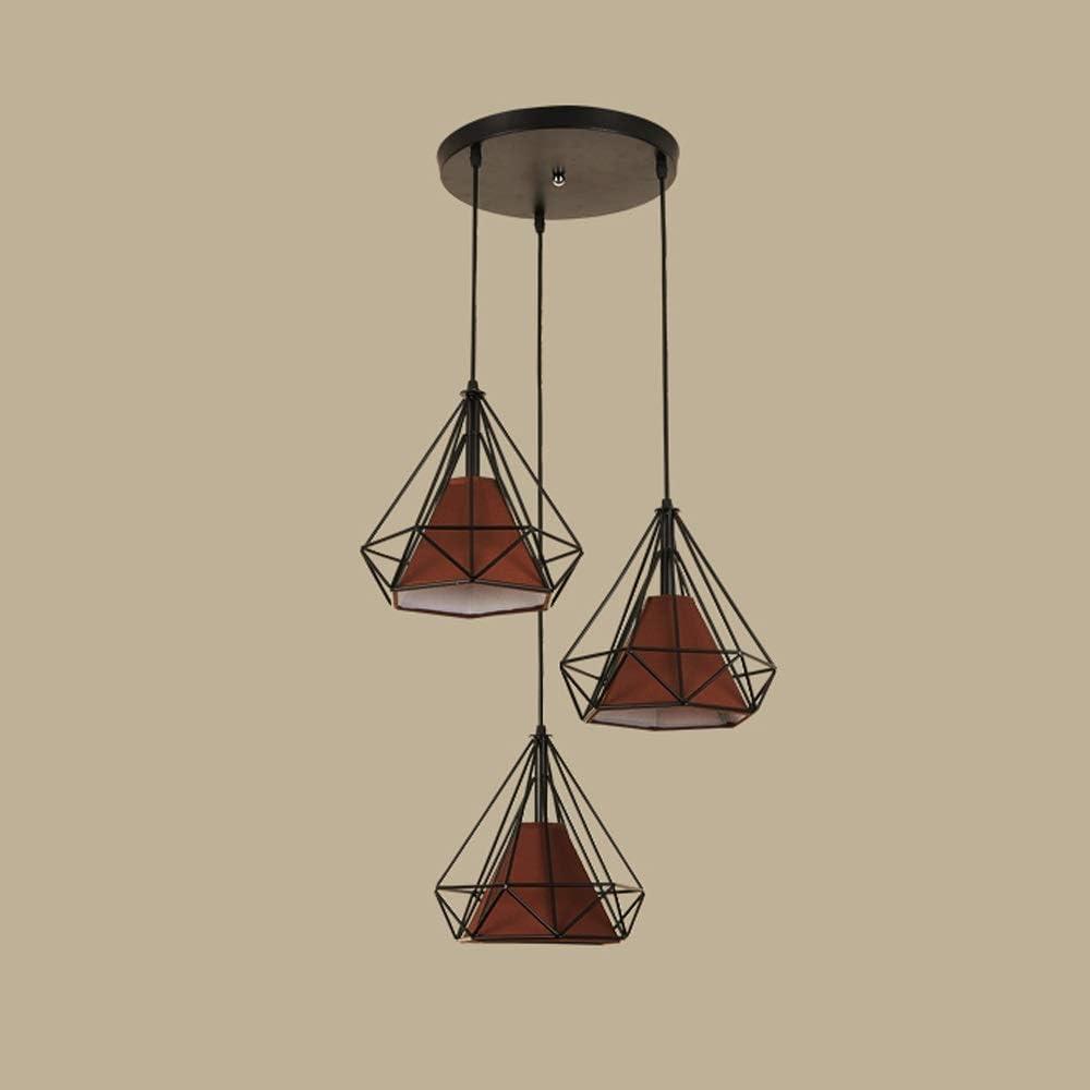 Skingk Metallo Industriale Nero Ferro Gabbia Cesto Appeso Lampada lampadario a Sospensione luciNordic Moderno e Minimalista Ristorante lampadario Creativo a Tre Teste Loft lampade Arte Diamante Ferro