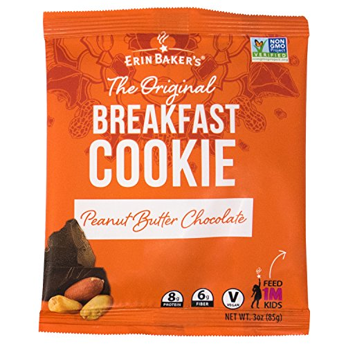 Erin Baker's Breakfast Cookies, Peanut Butter Chocolate, Whole Grain, Non-GMO, 3-ounce (Pack of 12) ()