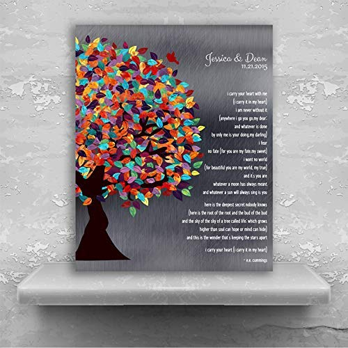 (E.E. Cummings Poem I Carry Your Heart With Me Spring Wedding Tree Shiny Tin Personalized 10th Anniversary Gift #1291 Metal Print)