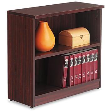 Alera VA633032MY Valencia Bookcase, 2-Shelf, 31-3 4 x 14 x 29-1 2, Mahogany