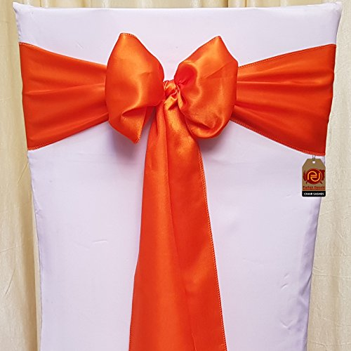 Parfair Dessin Pack of 10 Satin Chair Bow Sashes For Wedding Banquet Reception Party Decoration, Bright Silk and Smooth Fabric - Orange