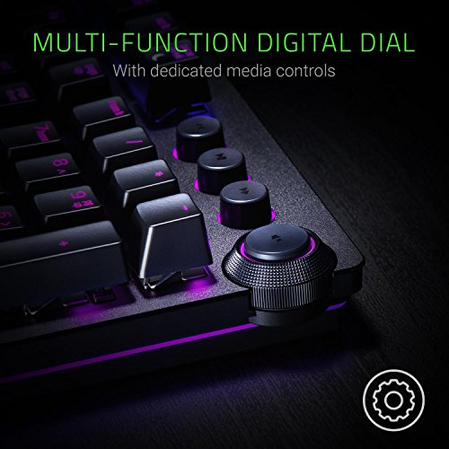 51BCZz7fsdL - Razer Huntsman Elite: Opto-Mechanical Switch - Multi-Functional Digital Dial & Media Keys - Leatherette Wrist Rest - 4-Side Underglow - Gaming Keyboard