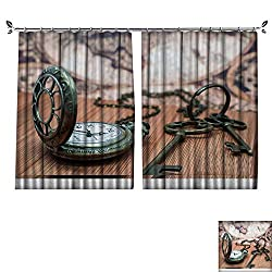 DESPKON Active Printing Fabric Polyester Material Antique Grunge Pocket Watch Clock,Skeleton Keys On Wooden Table for Cartoon Children's Room W55 x L39