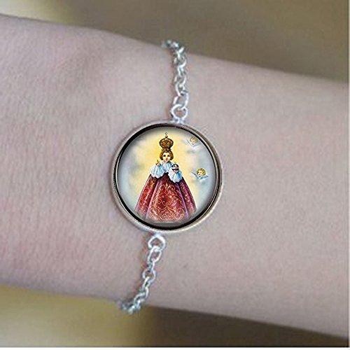 Holy Infant Jesus of Prague Bracelets. Catholic Religious Bracelets. Christian Bracelets Jesus Medal Approx. Nickel Size