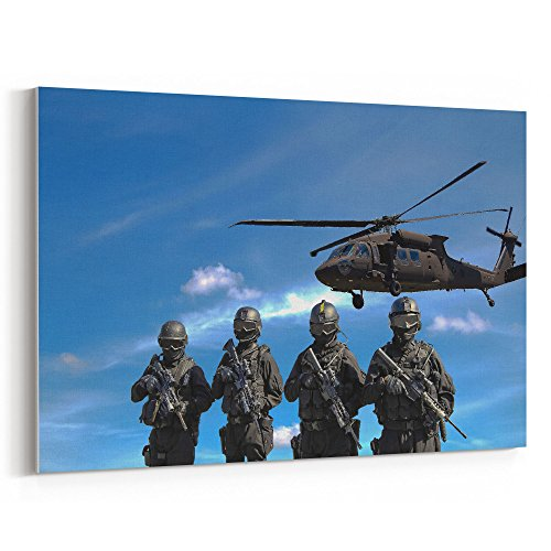 Westlake Art - Helicopter Force - 16x24 Canvas Print Wall Art - Canvas Stretched Gallery Wrap Modern Picture Photography Artwork - Ready to Hang 16x24 Inch