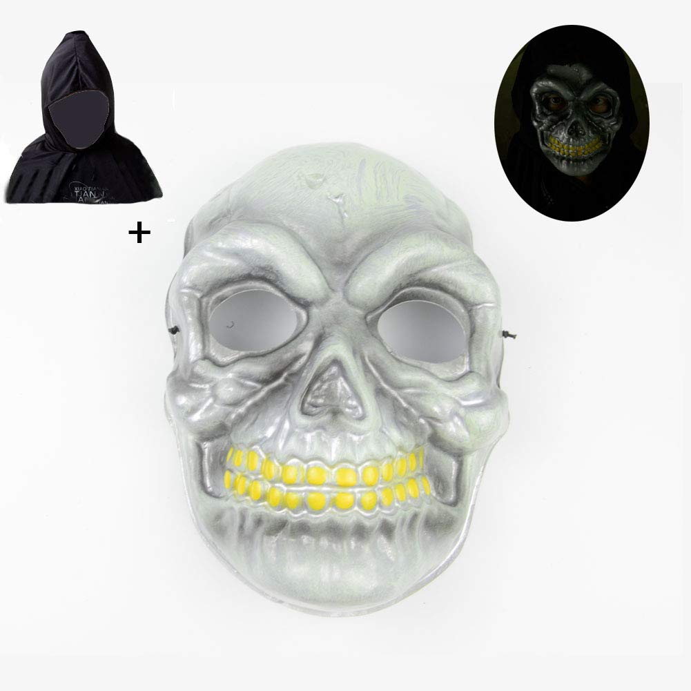 Halloween Mask Novelty Plastic Scary Cosplay Clown Masks with Cloak for Festival Parties