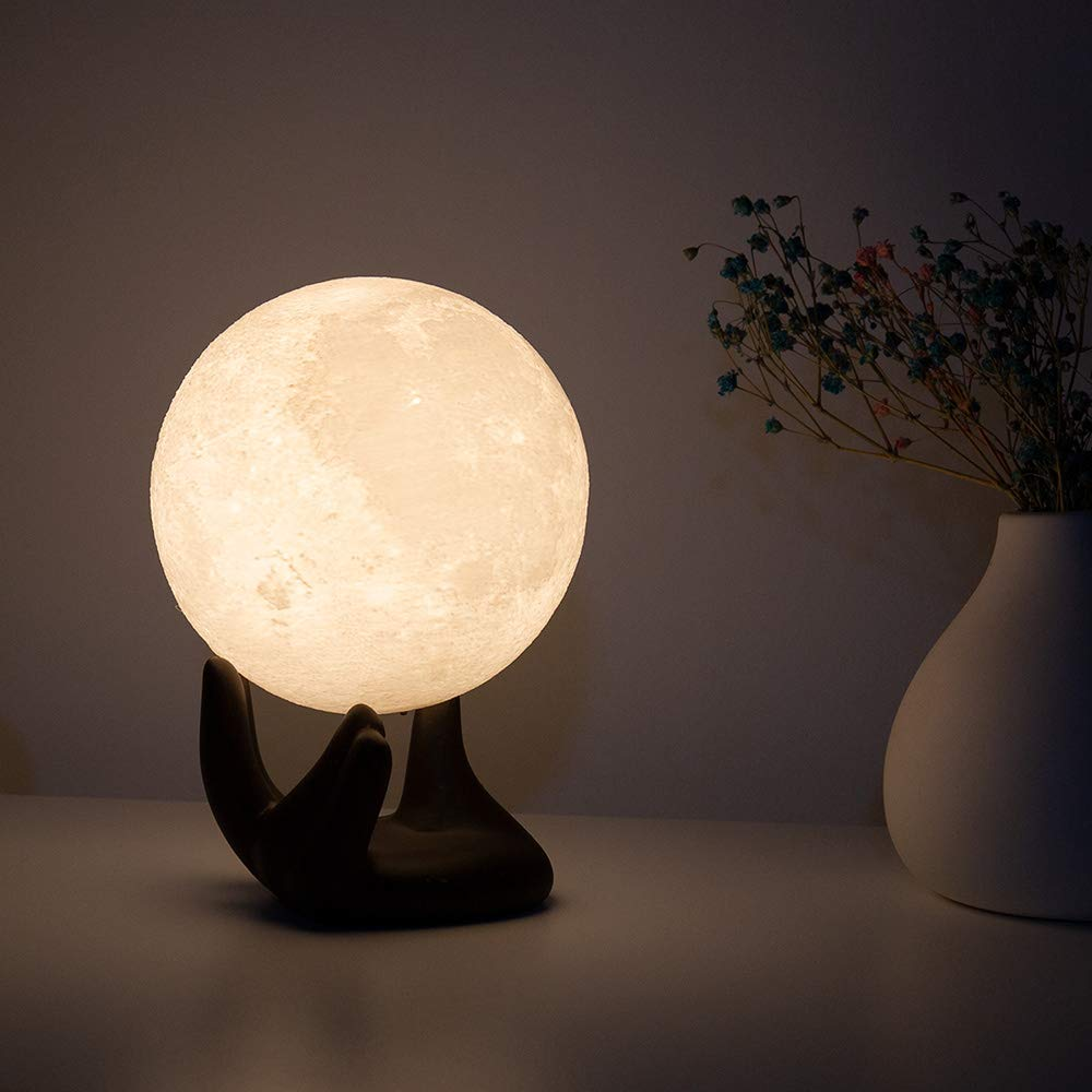 3D Printing Lunar Lamp Night Light with Black Hand Stand BRIGHTWORLD Moon Lamp