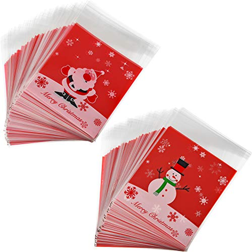 Sumind 200 Pieces Self Adhesive Cellophane Treat Bags Christmas Cookie Bags Plastic Candy Bags Small Red Gift Bags for Christmas Party Bakery Biscuit Bags -