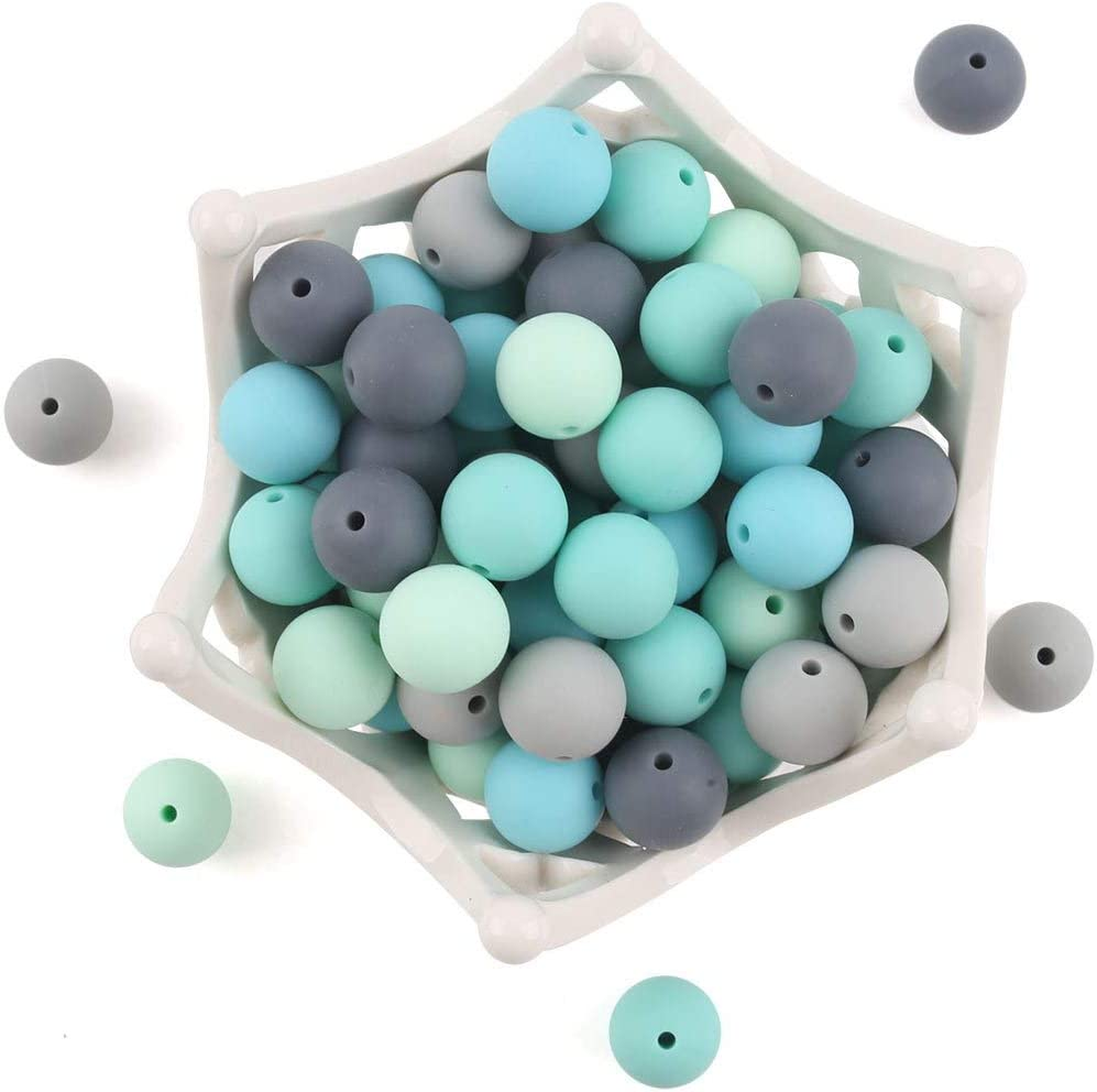50 round spiral beads silicone baby camaieu blue baby nipple fastener white 10 grey 15mm rattle making 20 pink