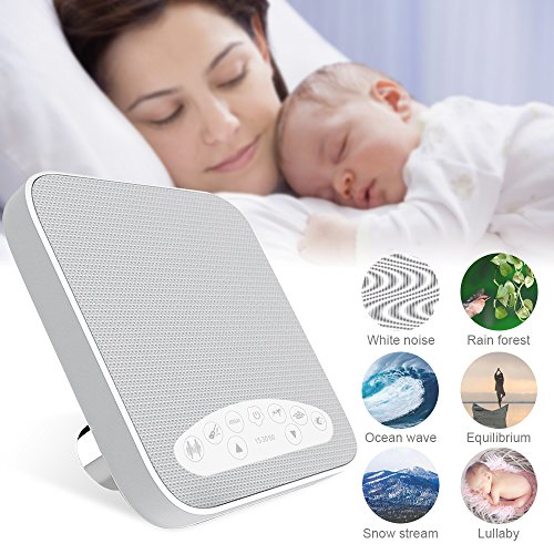 Sleep Noise Machine - WINONLY White Noise Machine, 2018 Upgraded Sleep Sound Machine, Sound Therapy Machine with 3 Timers & 6 Natural Sound Options including lullaby, Ideal for Tinnitus Sufferer, Light-sleeper, Baby