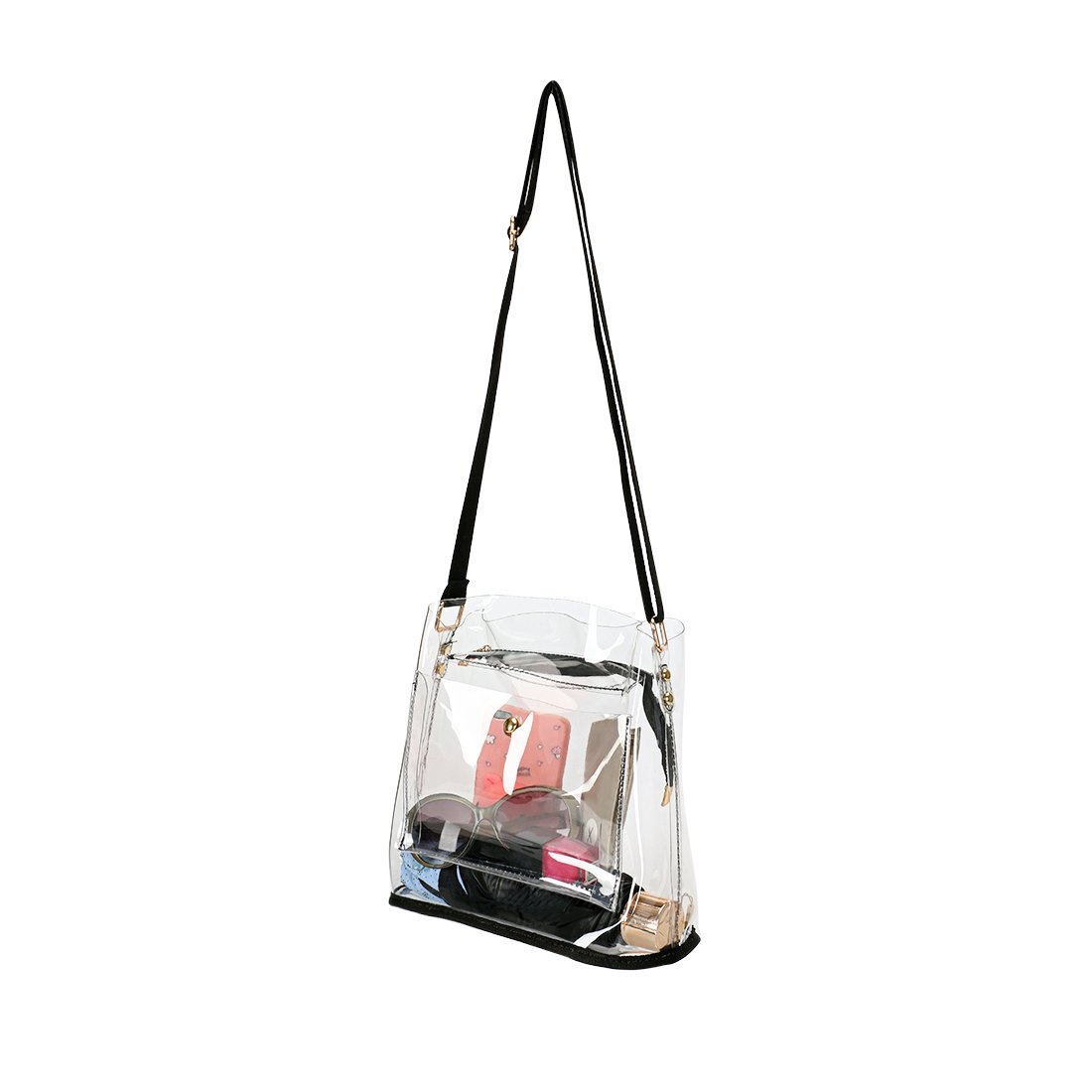 Women Clear Crossbody Purse Bag - NFL,NCAA & PGA Stadium Approved Shoulder Handbag - Transparent See Through Plastic Bucket Purse 10''x10''x6''