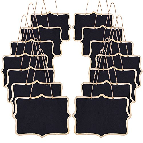 AUSTOR 14 Pcs Mini Chalkboards Signs 4.7 X 6.3 Inch Hanging Message Board for Kitchen and Weddings -