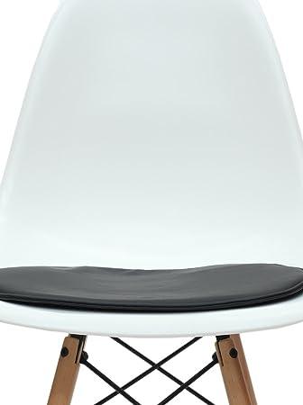 ARYANA HOME Cojín Silla Eames réplica, Piel sintética, Negro, 40x36