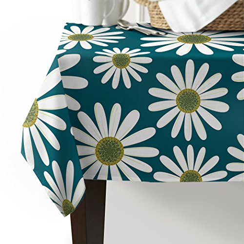 Blossom Daisy Flowers Cotton Linen Tablecloth Cute Floral Indoor Outdoor Table Cover for Wedding Party Home Kitchen Dinning Banquet Tableyop Decoration