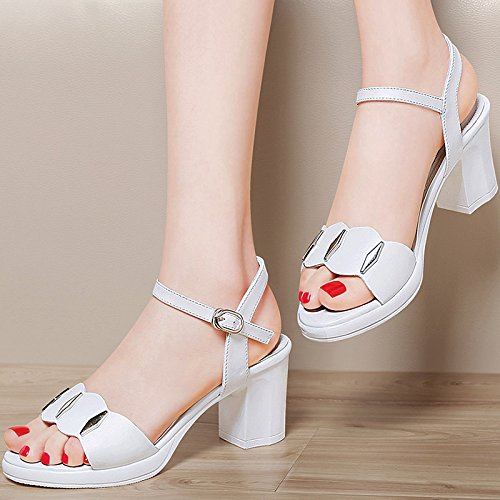 Señoras sandalias de cuero con pendiente toe zapatillas Sandalia de Verano 39, negro White
