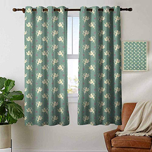 petpany Blackout Lined Curtains Green,Greek Mythology Inspired Romance Cupid Pattern with Little Hearts Print, Jade Green Cream Purple,Thermal Insulated,Grommet Curtain Panel 1 Pair 42