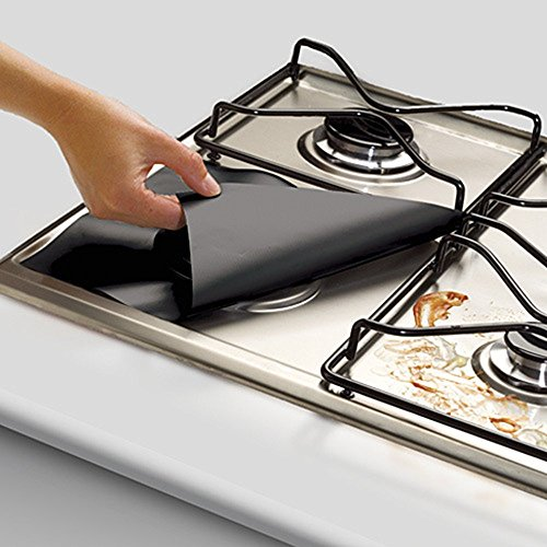 "CAROMIO 4PCS Gas Range Protectors Prime,Black Stovetop Burner Protector Liner Cover - Reusable,Non-Stick Dishwasher Safe, Easy to Clean Size 10.6"" x 10.6""- FDA Approved - Hide Top Bar"