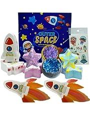NAVANA Rainbow Rocket Bath Bombs – XXL 8 Bath Bombs – Rocket, Goethe, and Star – Outer Space Theme - Magic Rainbow Bath Bombs for Kids – Rocket Rainbow – Birthday Gifts with Beautiful Gift Box