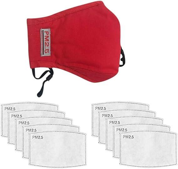 Carb/ón Activado Filtro Antipolvo Transpirables para Deportes al Aire Libre rojo oscuro Antipolvo PM2.5 Reutilizable