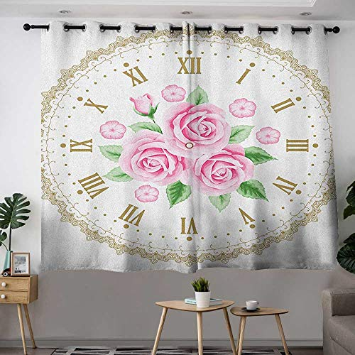 Kids Curtains Shabby Chic Vintage Clock Face Roses Roman Numbers Antique Vintage Style Insulated with Grommet Curtains for Bedroom W 55