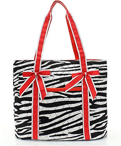 Zebra Print Bucket Bag (Handbag Inc Zebra Print Large Quilted Bucket Tote Bag Black & Red)
