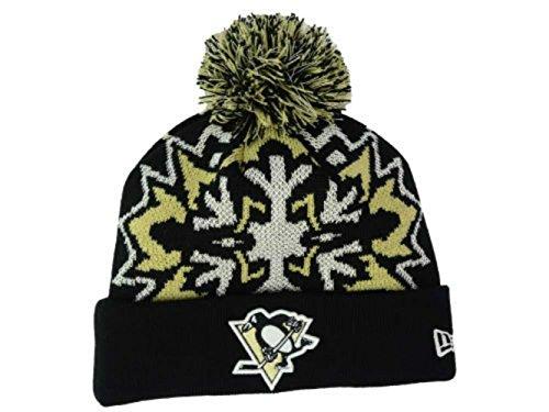 New Era Pittsburgh Penguins Knit Cuff Beanie w/ Pom Hat One Size Glowflake Black / Gold / White Hat OSFA - Glow In The Dark (Beanie Era Penguins New)