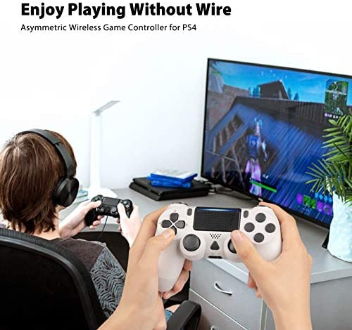 Nolansend Wireless Controller Compatible with PS4, Dual Vibration Wireless Gamepad Controller Remote Joystick Compatible with PS4/Pro/Slim with Motion Motors, Audio Function and USB Cable(White)