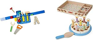 Melissa & Doug Deluxe Tool Belt Set & Birthday Party Cake (Wooden Play Food, Mix-n-Match Toppings and 7 Candles, Sturdy Construction, 34 Pieces)