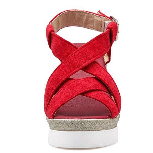 COOLCEPT Mujer Moda Strappy Plataforma Tacon De Cuna Heels Sandalias Slingback Rojo