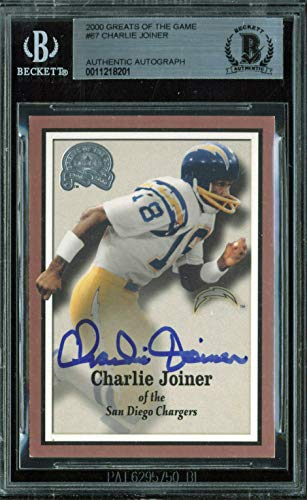 Chargers Charlie Joiner Signed 2000 Greats Of The Game #67 Auto Card BAS Slabbed